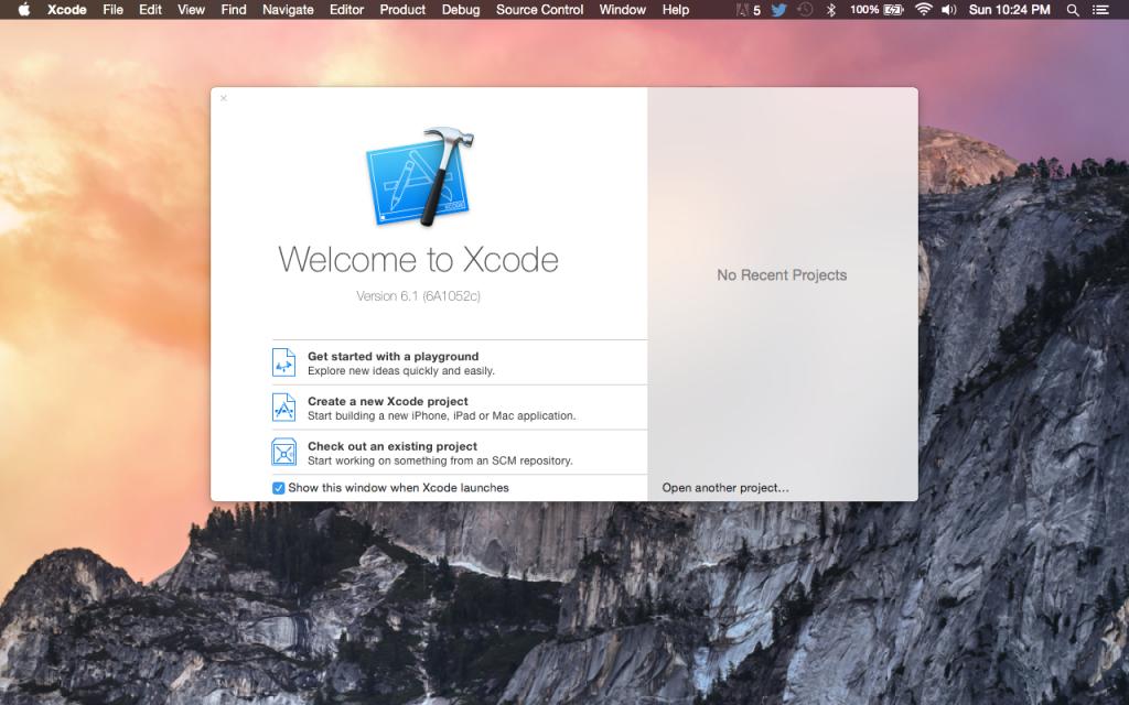Tampilan awal XCode ketika pertama kali dijalankan